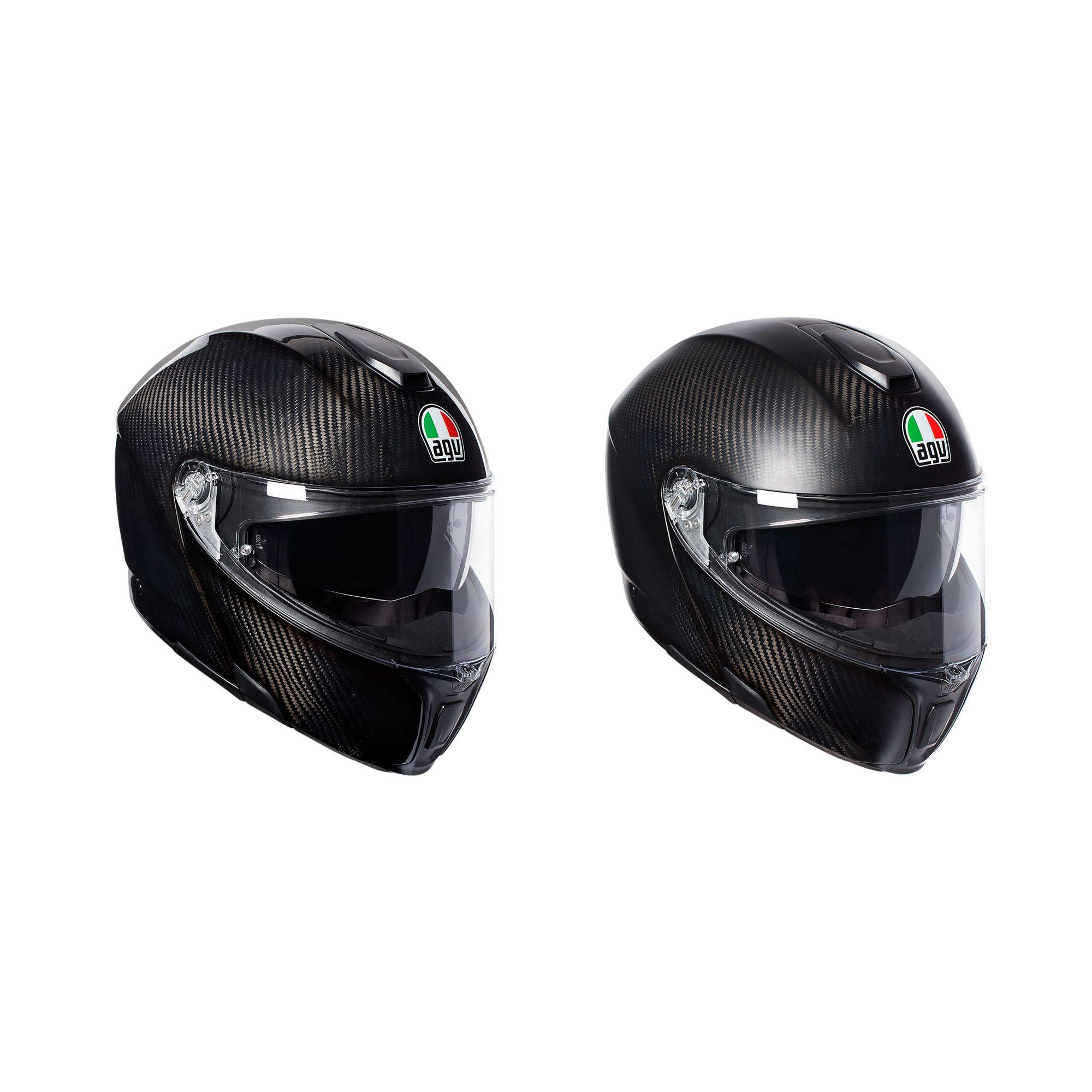 Agv Sports Modular Gloss Black Carbon Motorcycle Helmet M 58cm For
