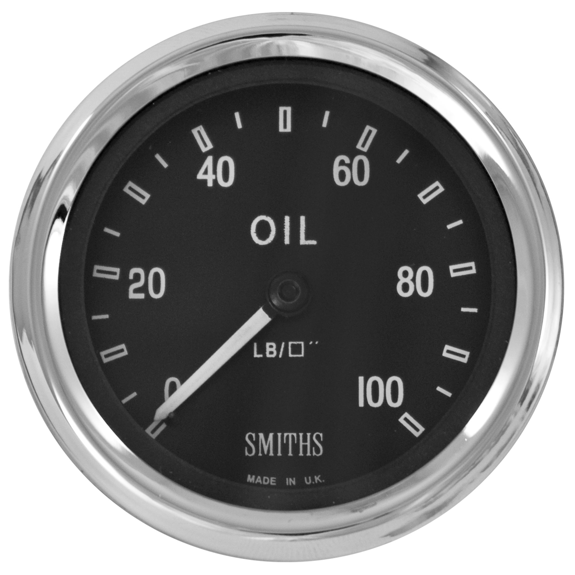 Smiths Classic Mechanical Oil Pressure Gauge Magnolia Dial Face//Chrome Bezel